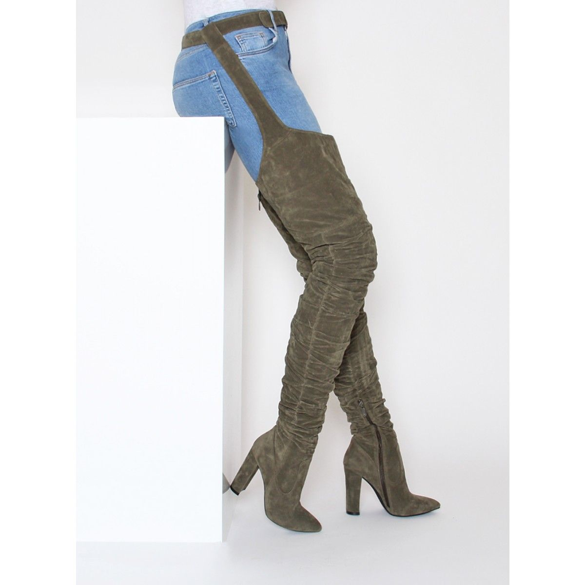 84f0dd81bb5c Rrez Khaki Suede Belt Thigh High Boots   Simmi Shoes