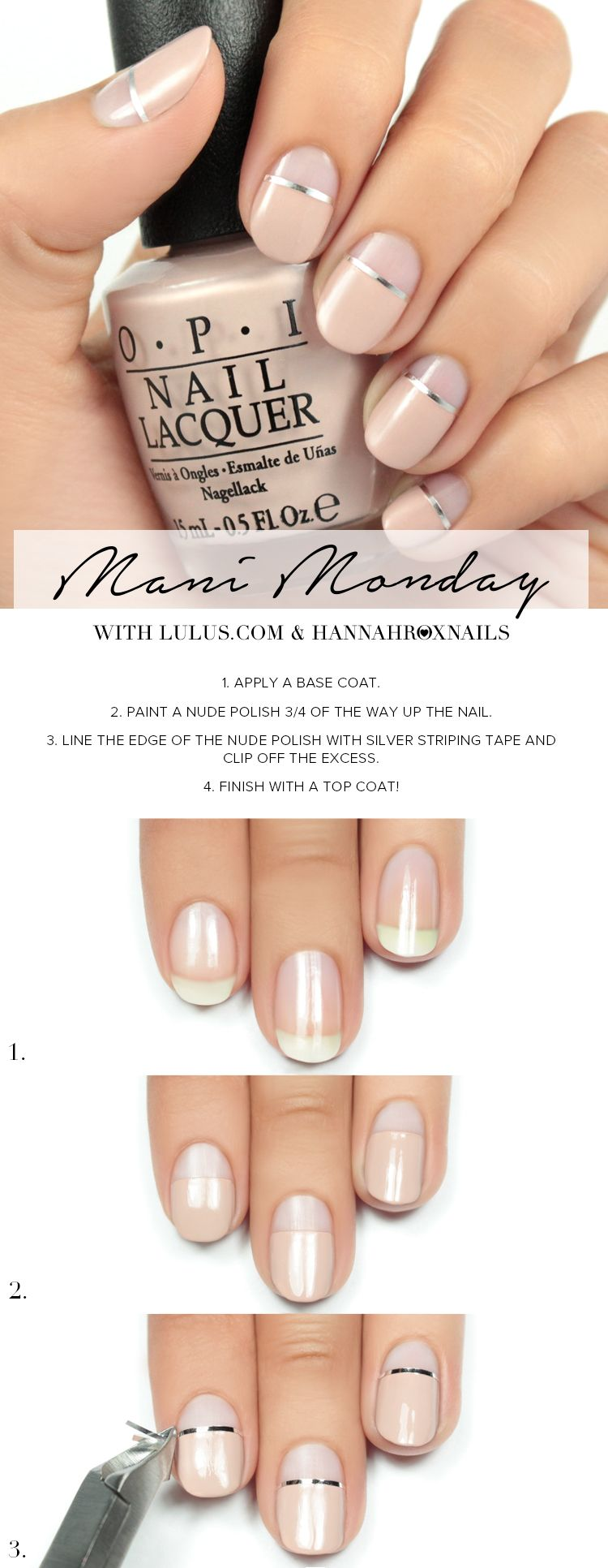 nude-nails-with-sliver-lines | Hiukset | Pinterest | Simple nail ...