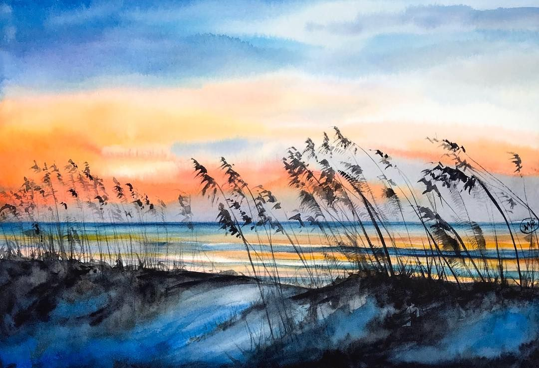 Pin By Gypsyglasstique On Art Beach Watercolor Painting