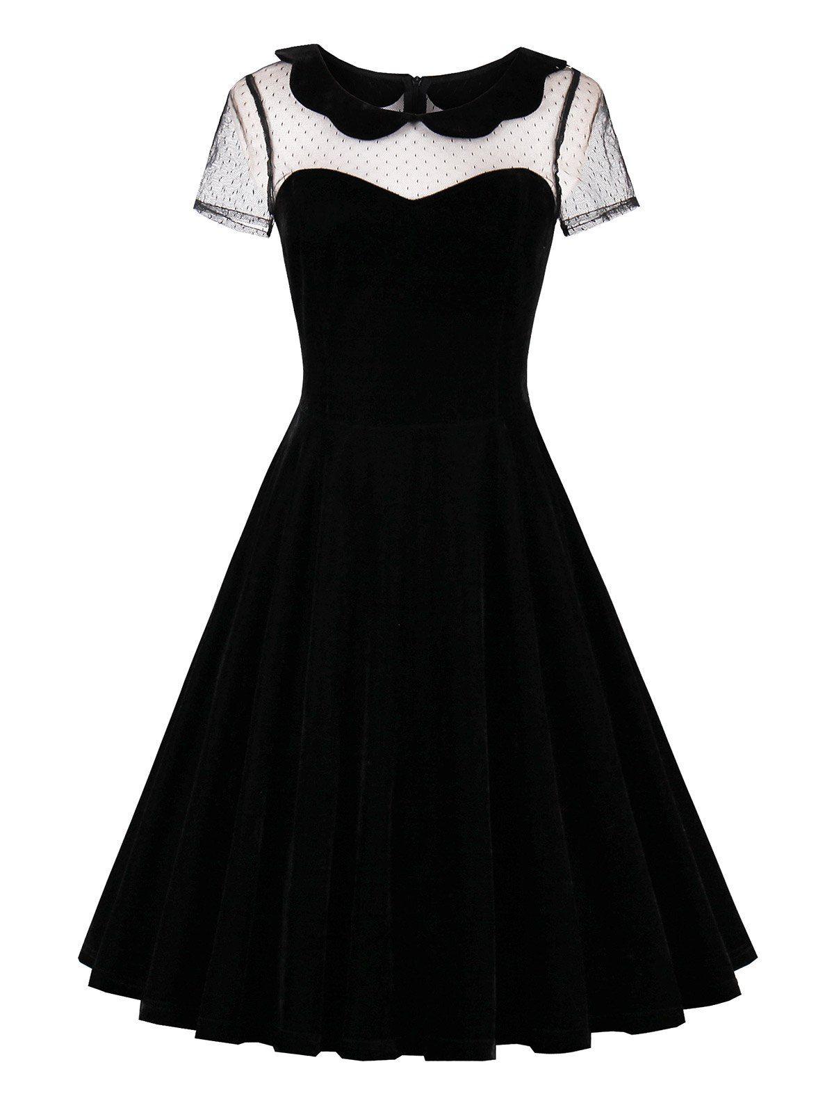 Short sleeve lace insert velvet s dress fashion pinterest