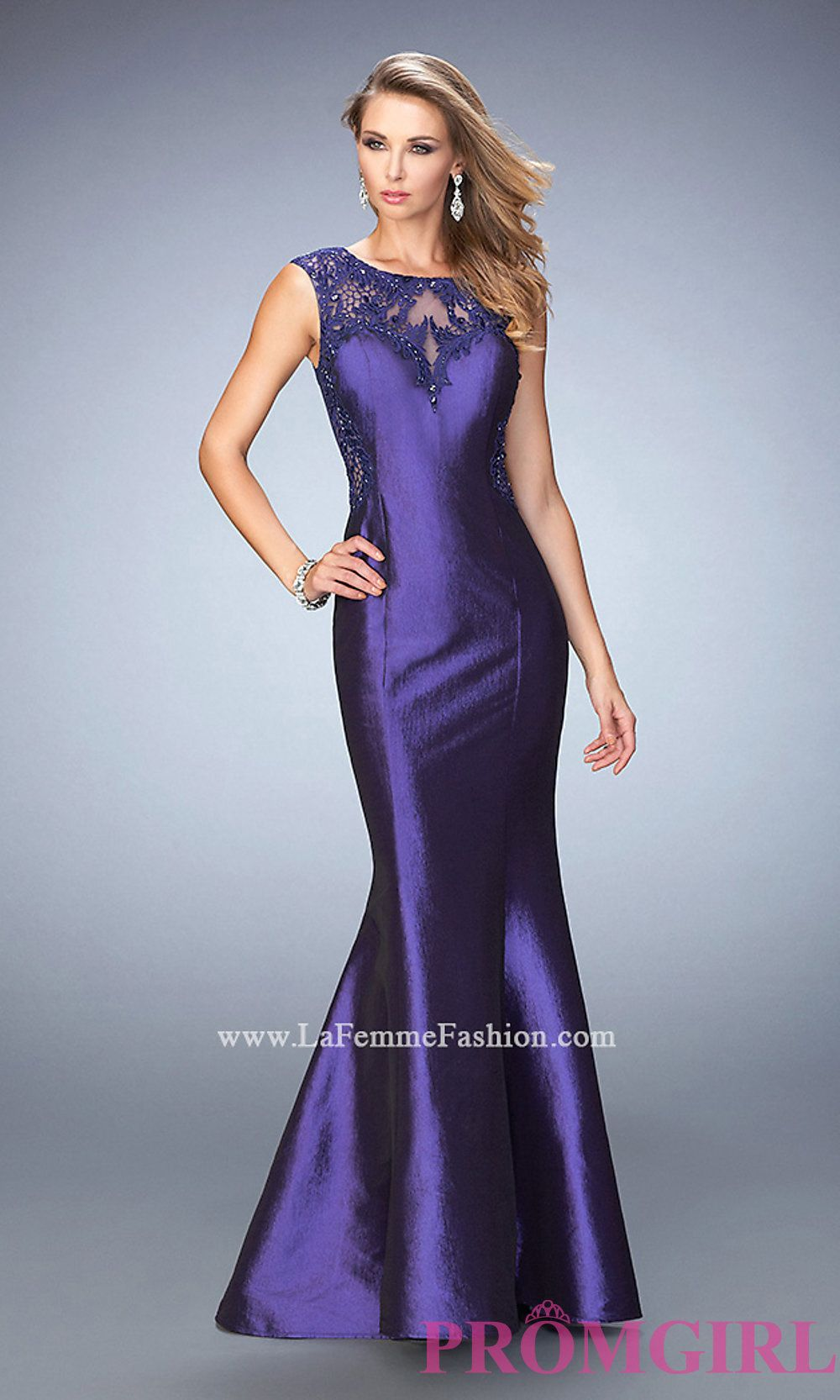 La femme long purple mermaid sheer back prom dress style lf