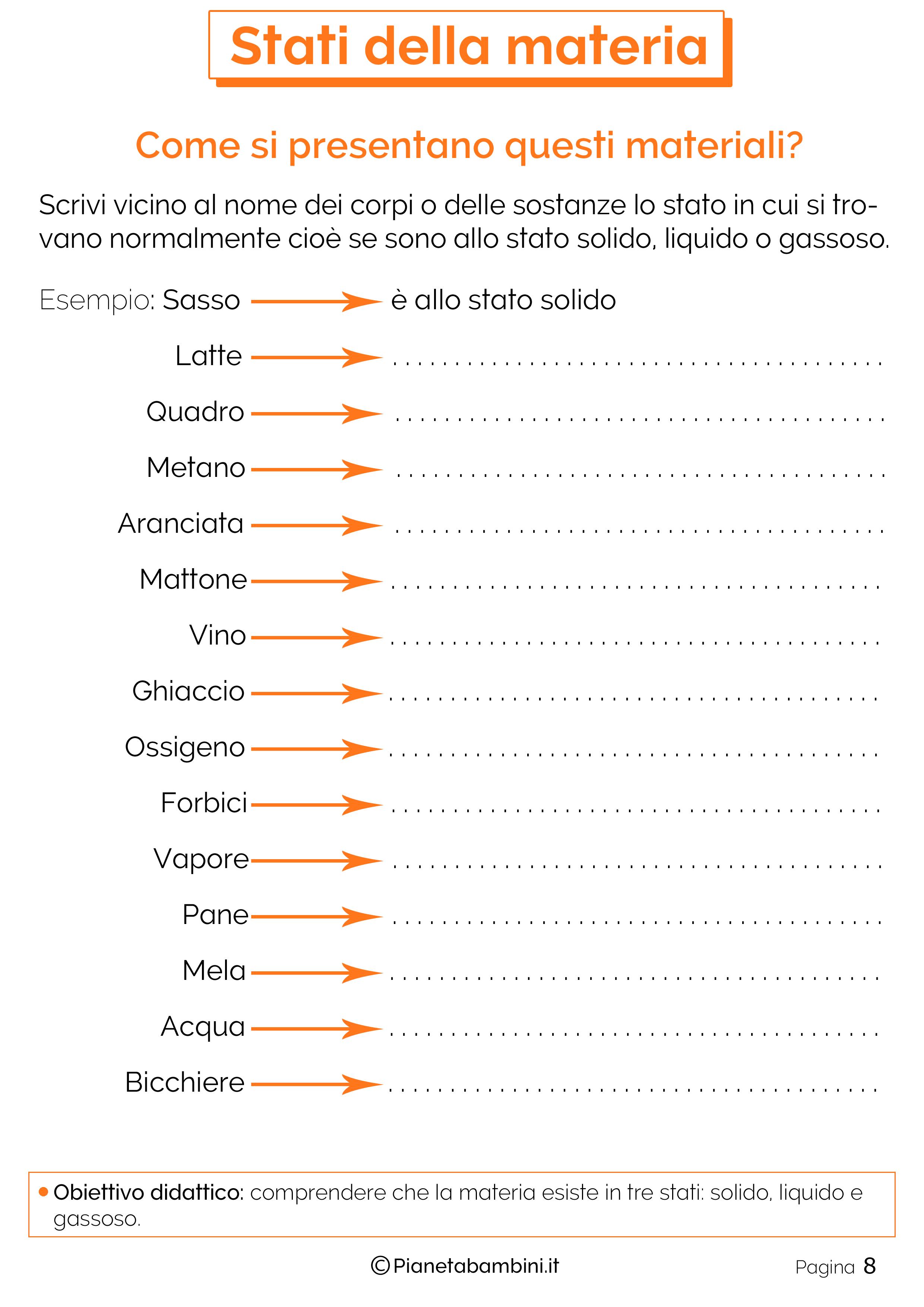 Stati Della Materia Schede Didattiche Per La Scuola Primaria