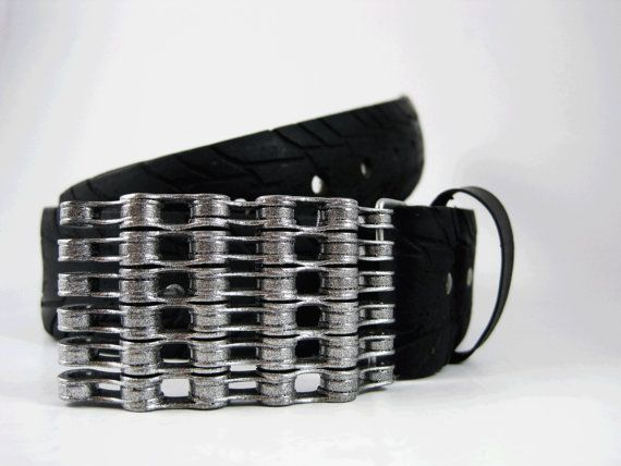 Recycled Bike Chain Belt Buckle Silver Sparkle By Rhythmicmetal