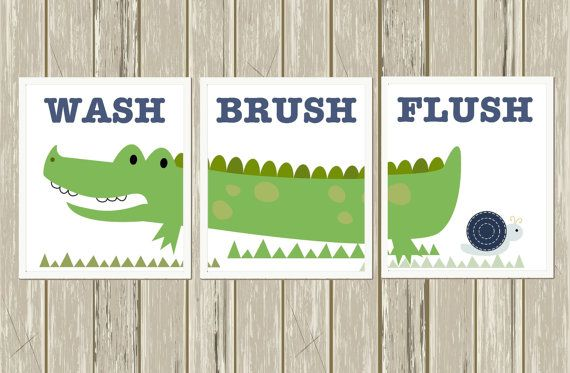 Kids Bathroom Art, Alligator Bathroom, Bathroom Decor, Boys Wall Art,  Crocodile Art, Wash, Flush, Brush, Set Of 3, Custom Colors