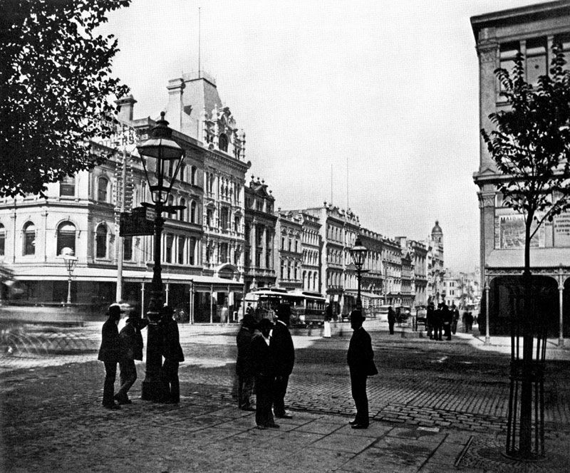 Collins Street in glorious black & white, from east end to west end.  The early years.