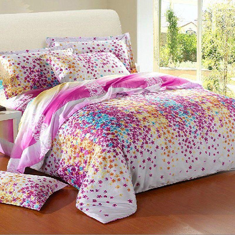 Beautiful Aqua Purple Orange and White Colorful Flower Print