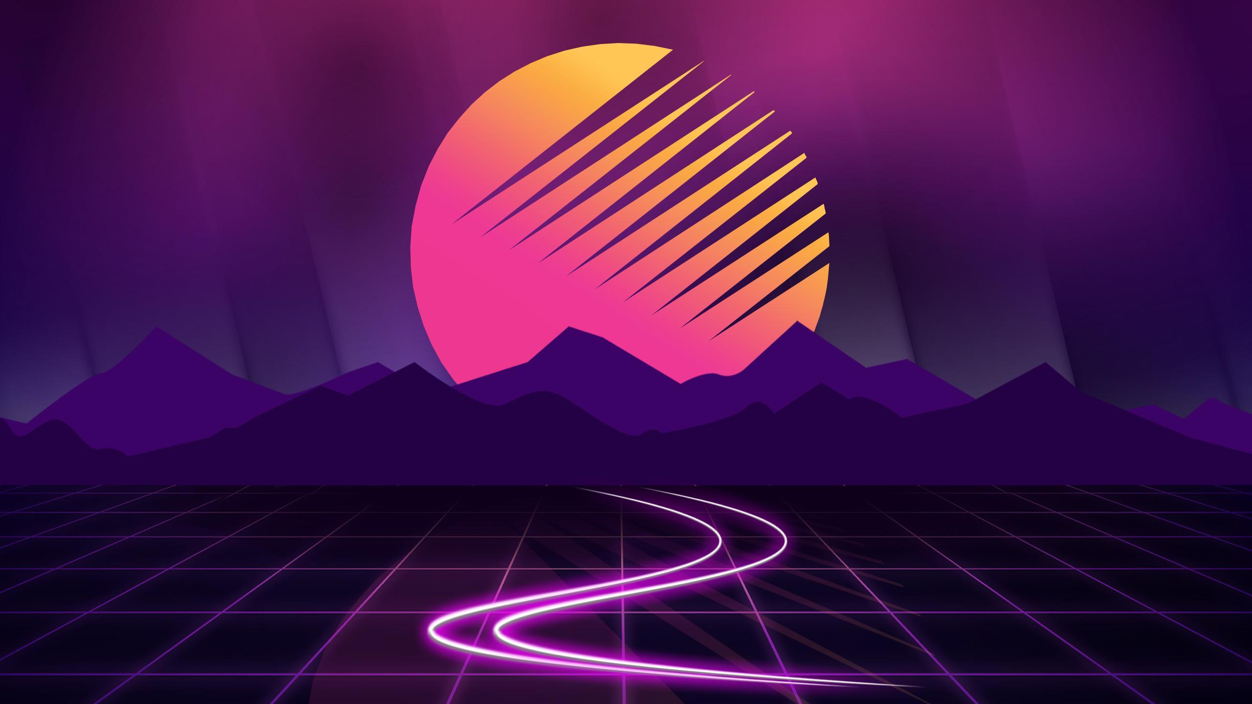 Retrowave Sunset 2560x1440 X Post R Vectorwallpapers Dark Background Wallpaper Vaporwave Wallpaper Neon Wallpaper