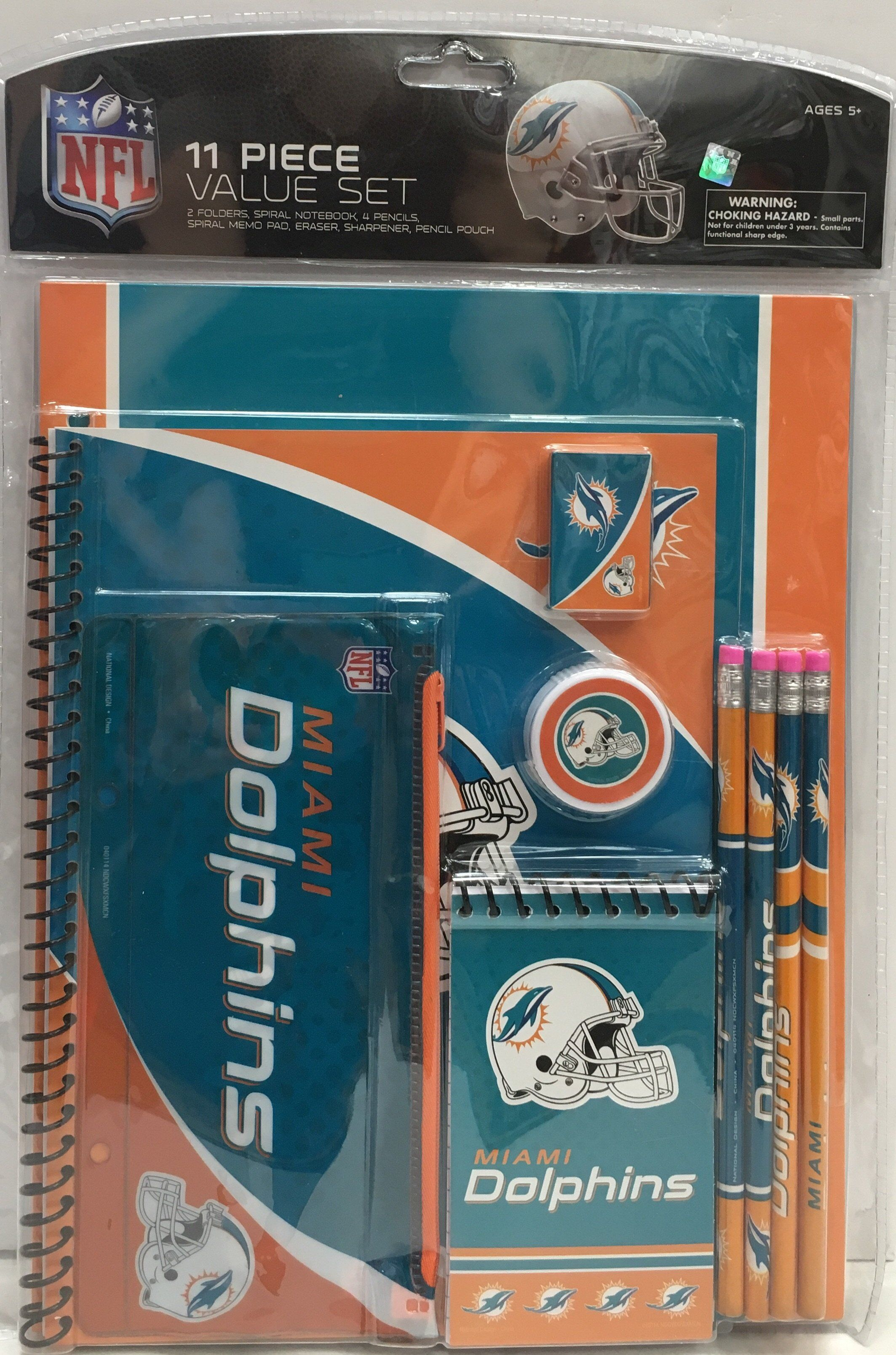 4a5dbf1d Miami Dolphins 11 Piece Value School Supply Set   CanesWear   Miami ...