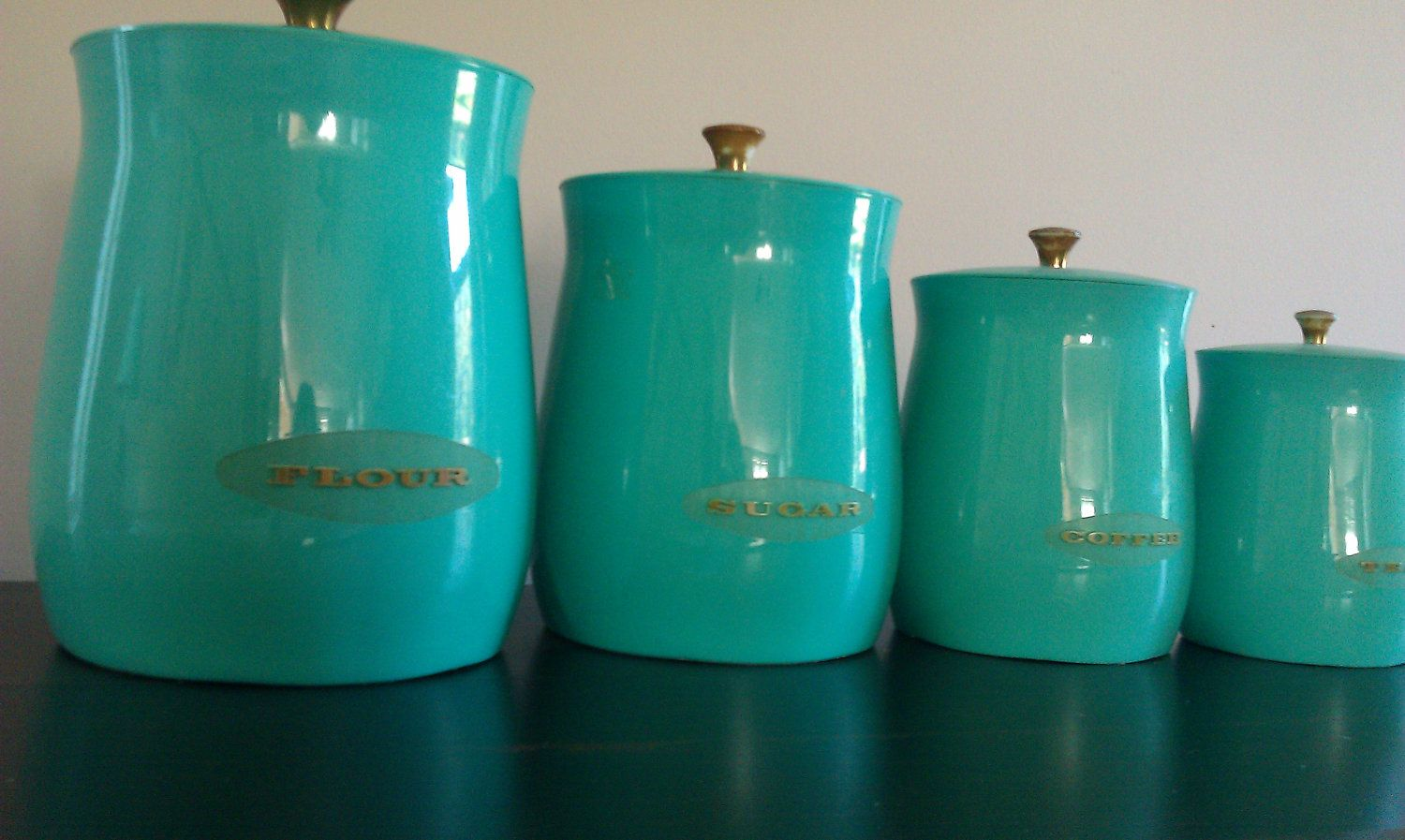Vintage Teal And Gold Canister Set Blue Kitchen Canisters Teal