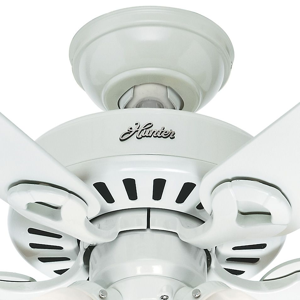 Hunter 44 inch white finish ceiling fan with white swirl glass hunter fan white finish ceiling fan with remote control and white swirl glass light kit pre assembled certified refurbished aloadofball Image collections
