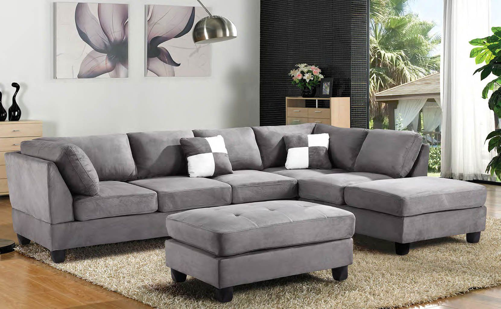 G633 Reversible Sectional Set Grey Living Room Sets Furniture