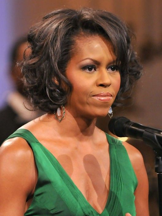 Michelle Obama Short Curly Bob Hairstylefor Black Women Short Curly Bob Hairstyles Curly Bob Bob Hairstyles