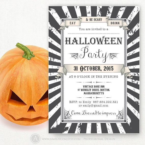 Printable Halloween Party Invitations Templates Adult Halloween
