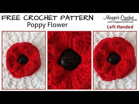 Button Poppy Free Crochet Pattern - Left Handed - YouTube | Buttons ...