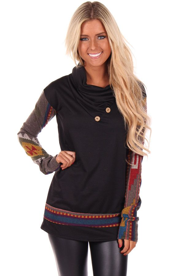 3b468cf85c52 Lime Lush Boutique - Black Cowl Neck Sweater with Aztec Print Detail,  $48.99 (http