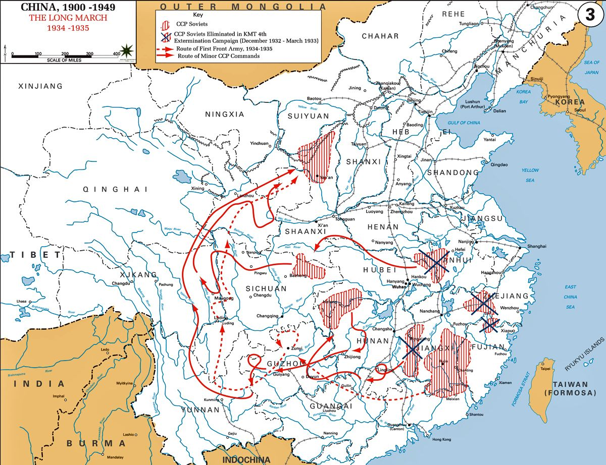 1934 1935 the long march and ccp soviets chinese revolutionary historical map of china the long march gumiabroncs Gallery