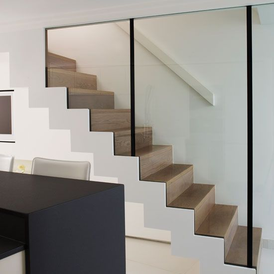 Step Inside A Canalside London Home Ideal Home Stairs Design   Glass And Chrome Banisters   Designer   Wooden Glass   Frosted Glass   Oak   Contemporary