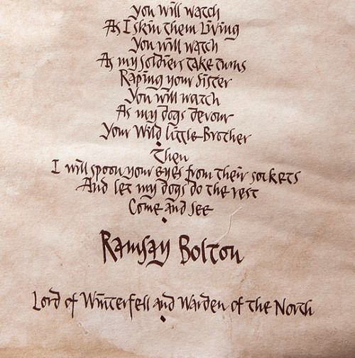 Come And See Ramsay S Letter To Jon Snow X Game Of Thrones Juego De Tronos R Jon Snow Come See Lettering