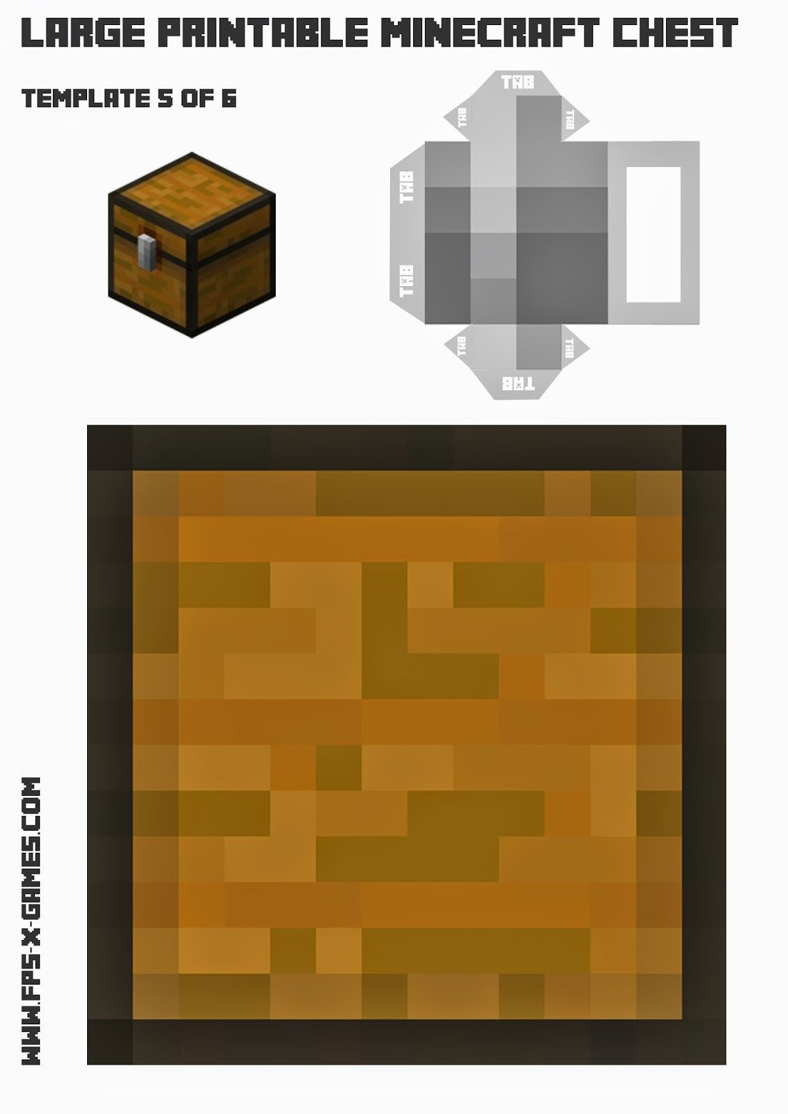 How To Create A Large Printable Minecraft Chest Fpsxgames Minecraft Printables Large Printable Minecraft Valentines Box