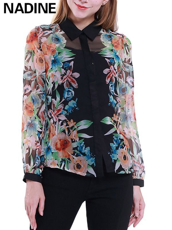 Nadine Work Elegant Ol Y Flower Printed Chiffon Blouse Women 8217 S Office Shirts