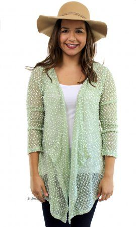 Liam Ladies Lightweight Knit Sweater Cardigan Bolero In Green ...