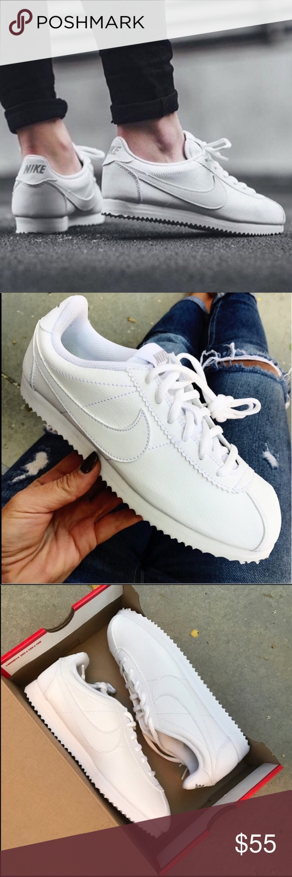 334d7a2fcb09 NWB NIKE CORTEZ TRIPLE WHITE LEATHER LAST PAIR! New never worn NIKE CLASSIC  CORTEZ