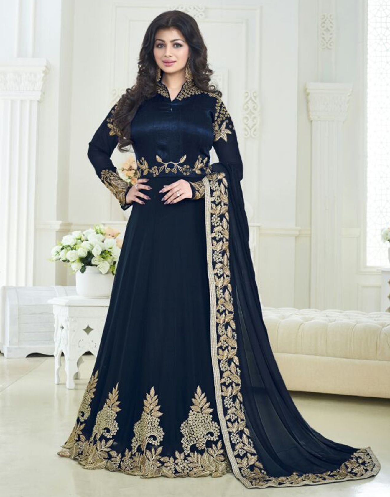 Buy Beautiful Navy Blue Colored Poly Georgette With Chennai Silk