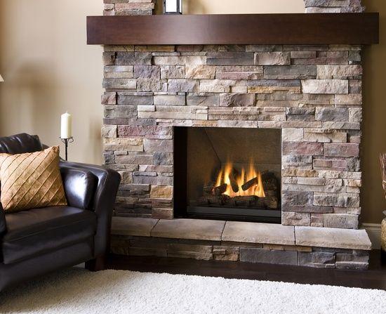 Corner Fireplace Remodel Ledge Stone Face Dark Wood