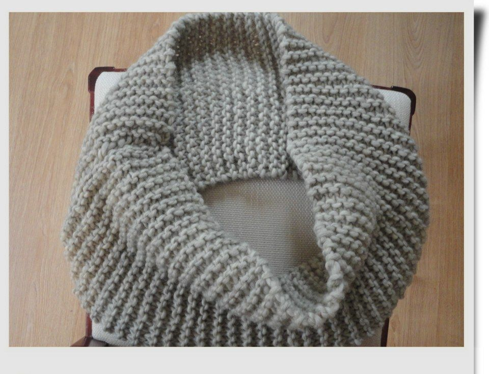 Knitting Scarf Patterns Infinity Scarf : Free pattern garter stitch infinity scarf made with flat knitting