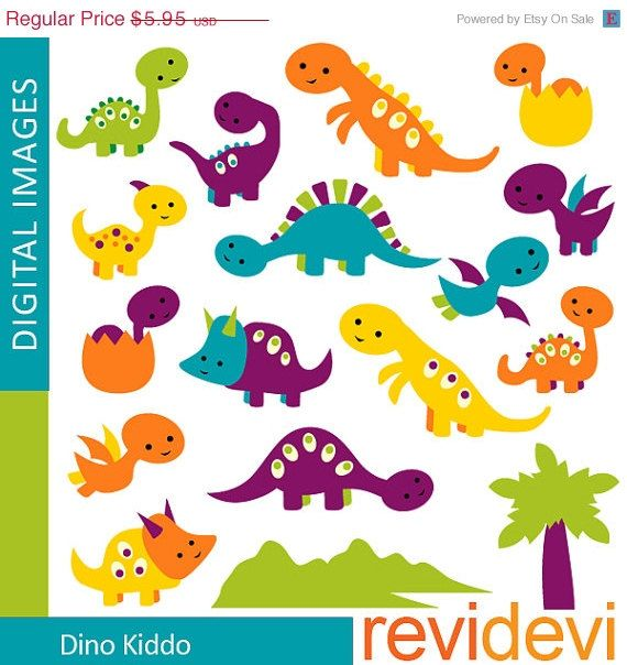 80% OFF SALE Cute DINOSAUR clipart digitals / Dino by revidevi