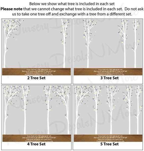 Nature/_Trees Yellow Gray No Deer T80  76/_3/_77 Grey Tree Decal Baby Room Tree Decals Yellow Nursery Decor