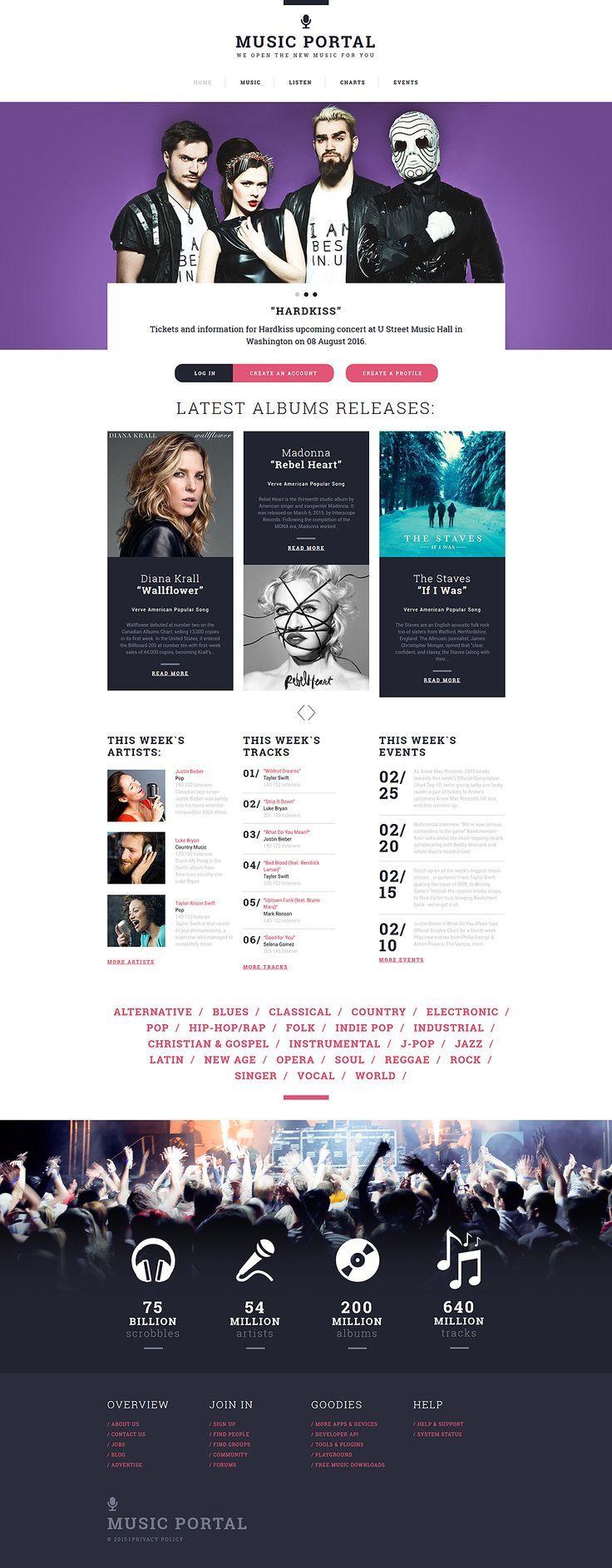 Music Portal Responsive Website Template   Portal website, Template ...