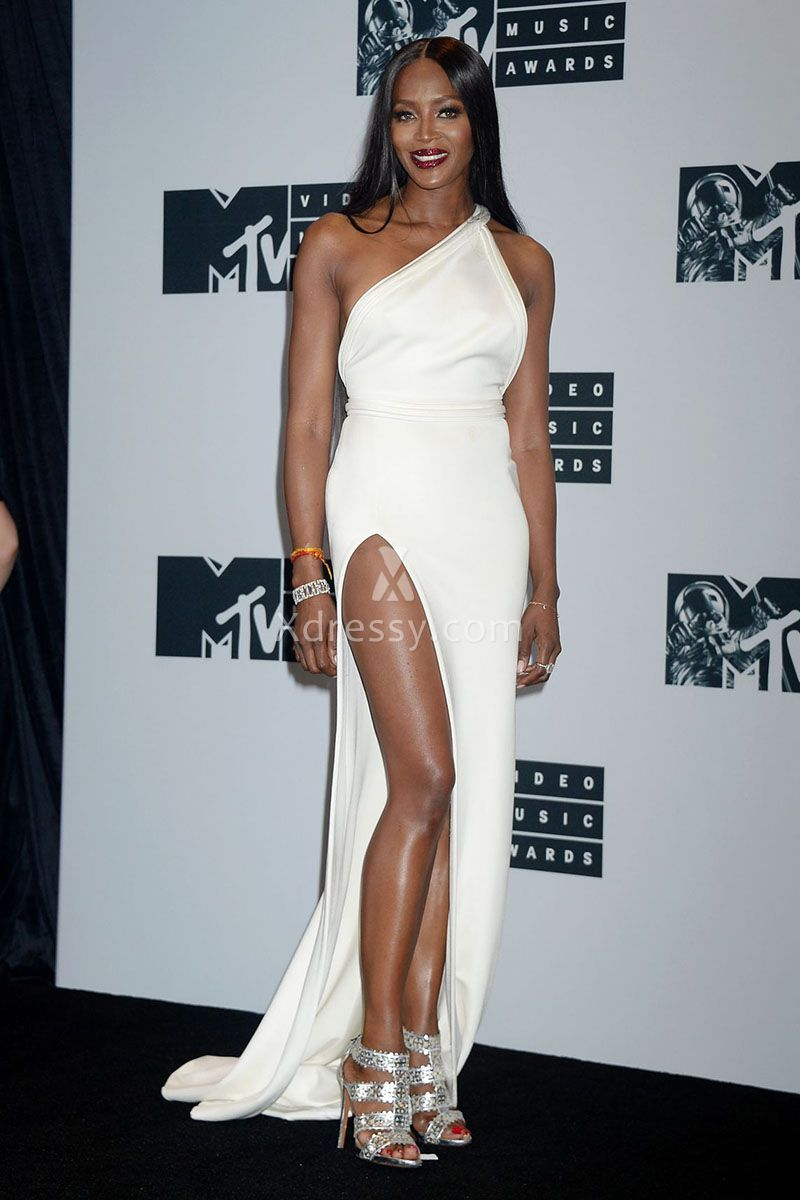 Naomi Campbell Pretty White One Shoulder Long Evening Prom Dress MTV ...