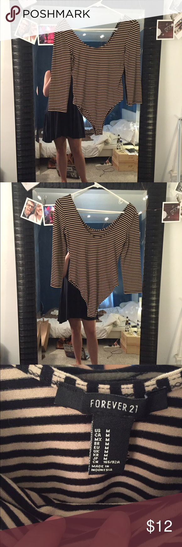 Black and Brown Scoop Neck Body Suit | M NWOT Forever 21 body suit! Perfect for any occasion. Black and brown stripes Forever 21 Intimates & Sleepwear