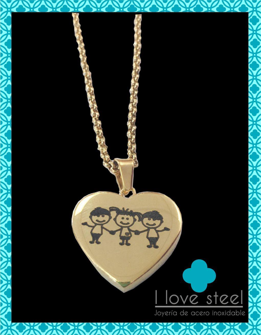 a641a3d401e9 Collar con dije corazón de acero inoxidable personalizado - I Love Steel