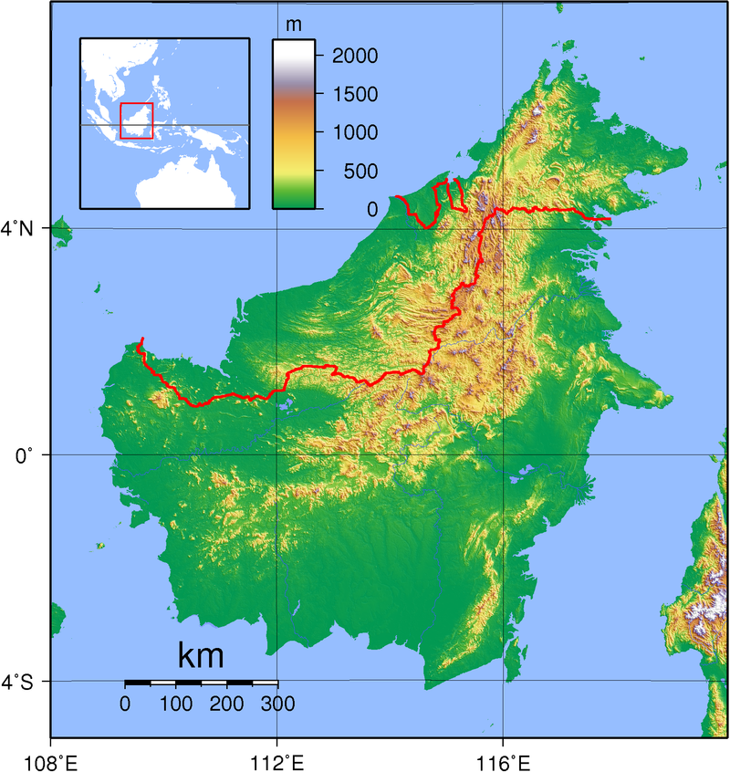 A topographic map of Borneo with East Malaysia located on