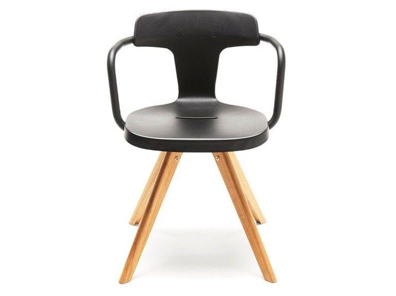 chaise en acier inoxydable et bois avec accoudoirs t14 collection t by tolix steel design