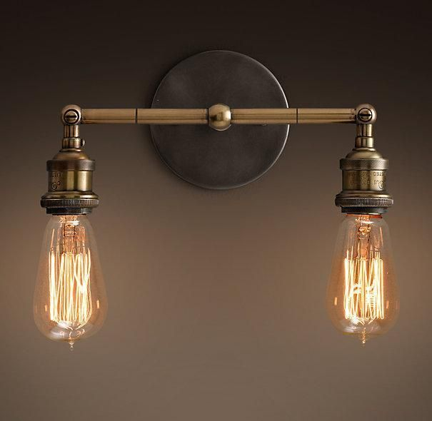 Factory Filament Bare Bulb Double Sconce:Evoking Early Industrial Lighting,  Our Reproductions Of Vintage Fixtures Retain The Classic Lines And Exposed  ...