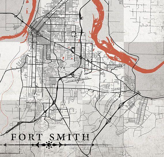 FORT SMITH AR Canvas Print Arkansas Vintage map Fort Smith Ar City