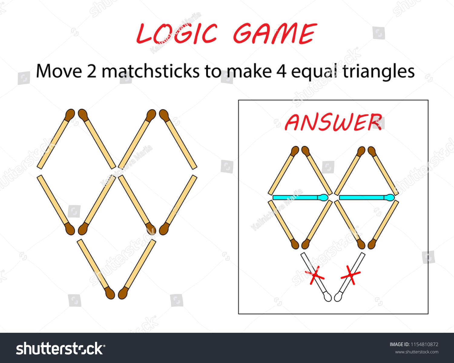 Logic game for kids. Puzzle game with matches. Move 2