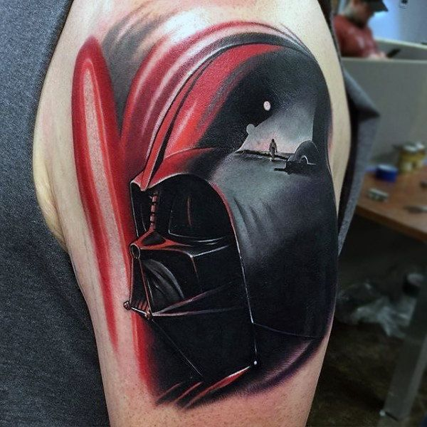 bbe51bdf0a 100 Darth Vader Tattoo Designs For Men - Cool Star Wars Ideas | Star ...