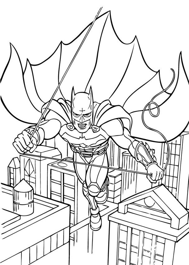 Batman flying coloring page. You can print it out or color online on ...