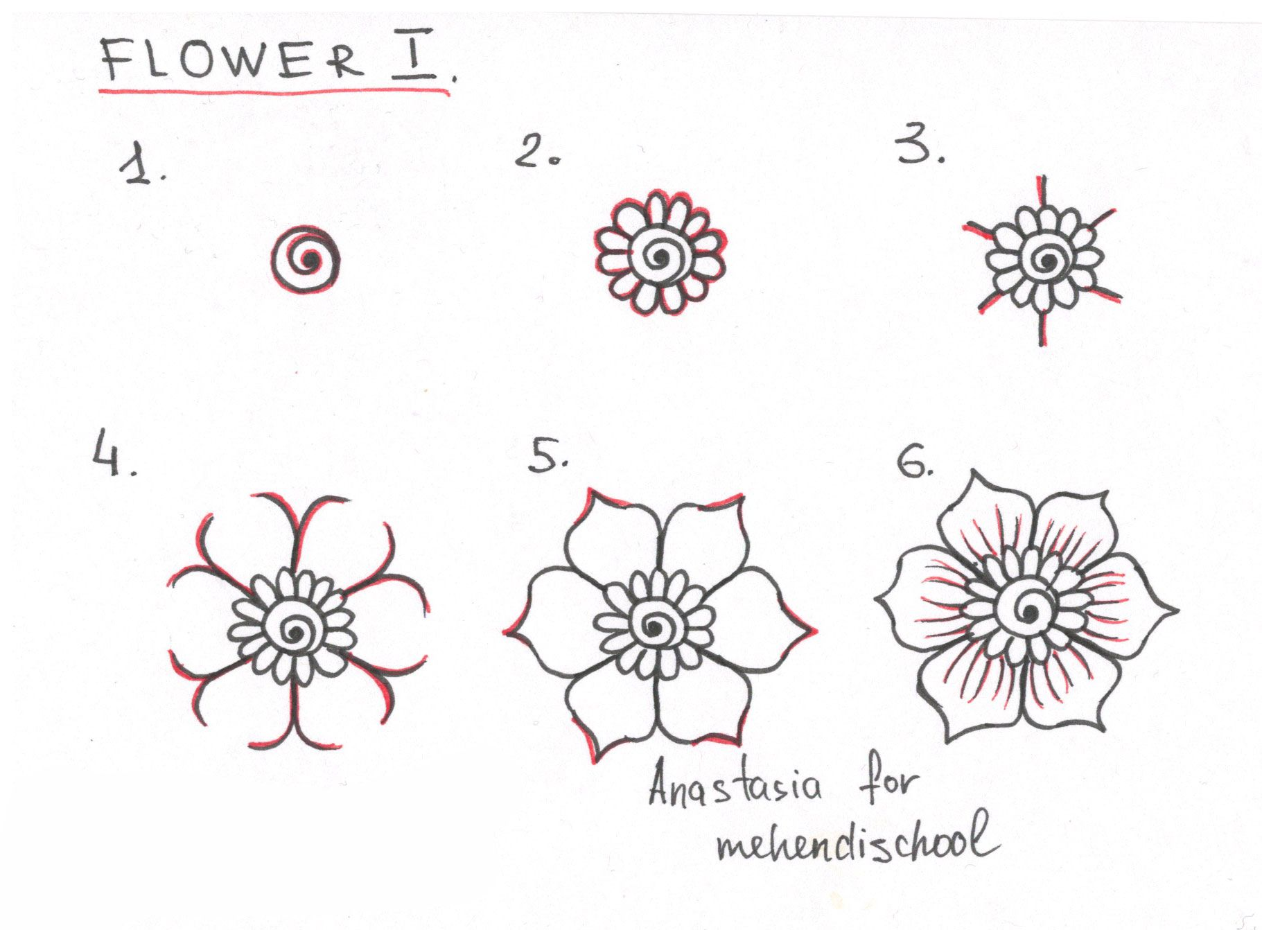 how to draw a beautiful and smooth mehndi flower small