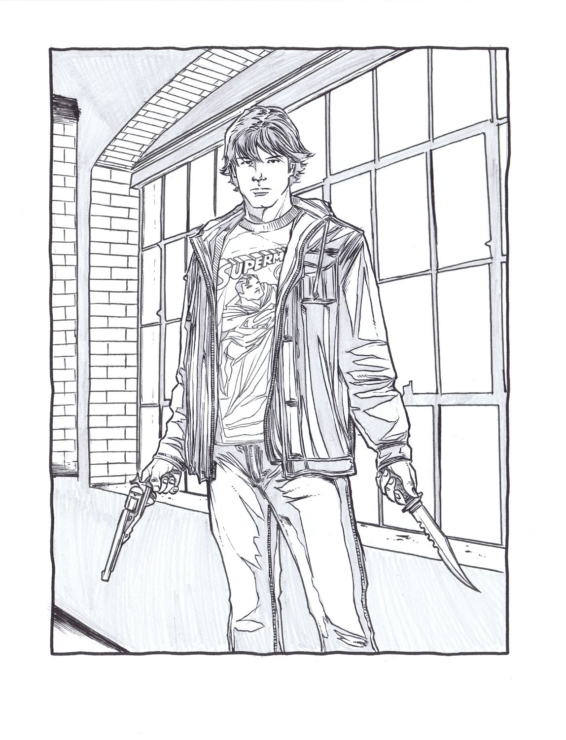 Supernatural Coloring Page Sam Winchester Coloring Pages