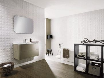 Dimensional And Textured Tiles From Porcelanosa Modern White Bathroom White Wall Tiles Wall Tiles