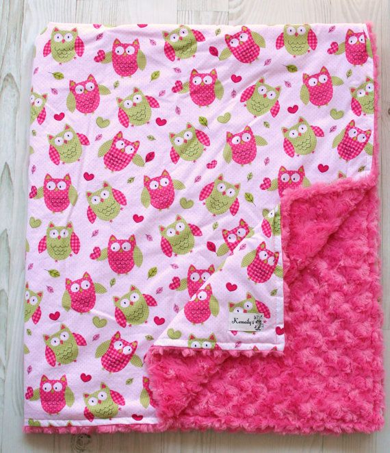 Hot Pink and Green Owl Minky Baby Blanket From Kemaily by Kemaily, $42.95