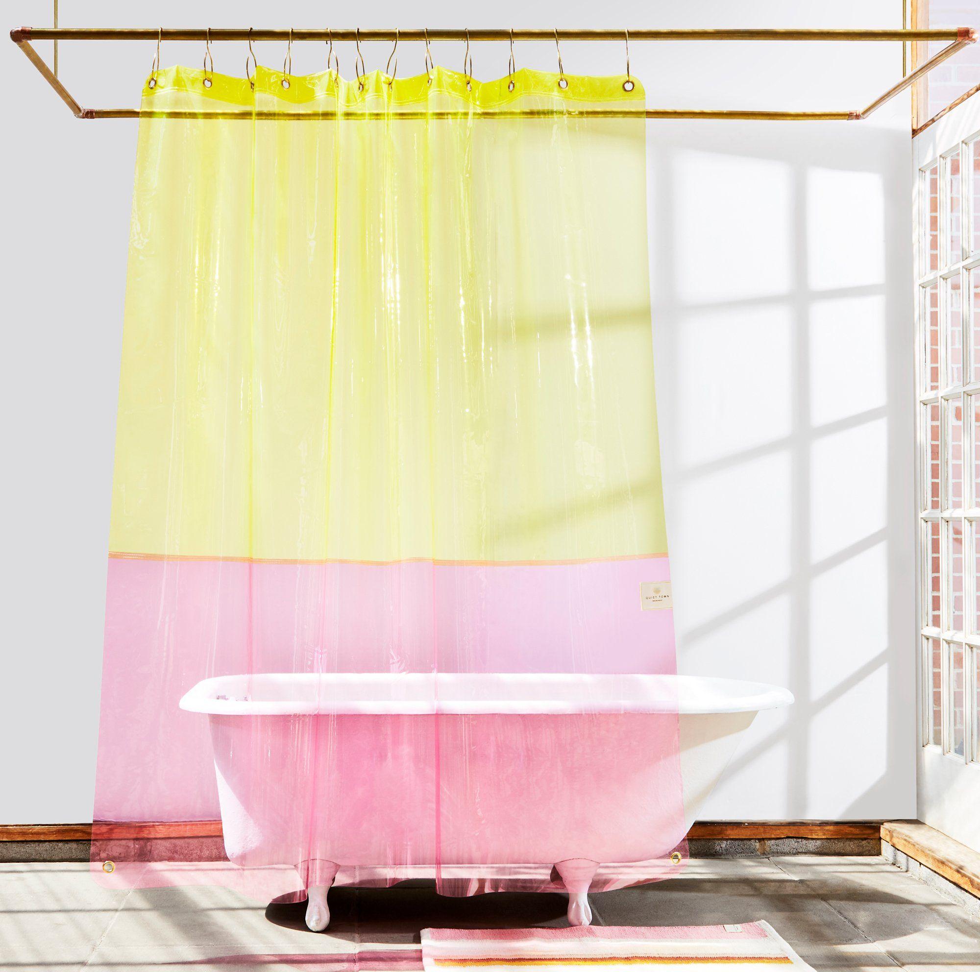 Clear Pink Yellow Eva Sun Shower Curtain Curtains Shower