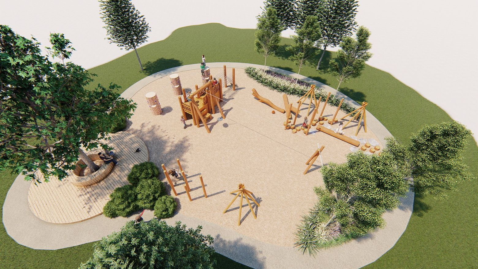 3d model of a nature play space for schoolaged children