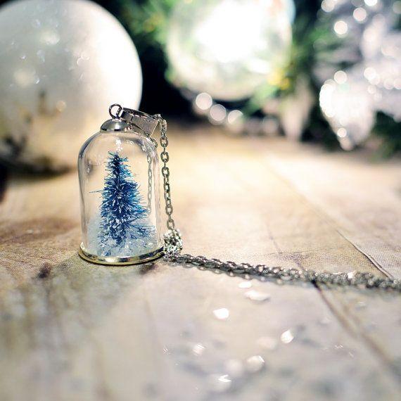 Terrarium necklace snow globe Pendant Christmas by EightAcorns