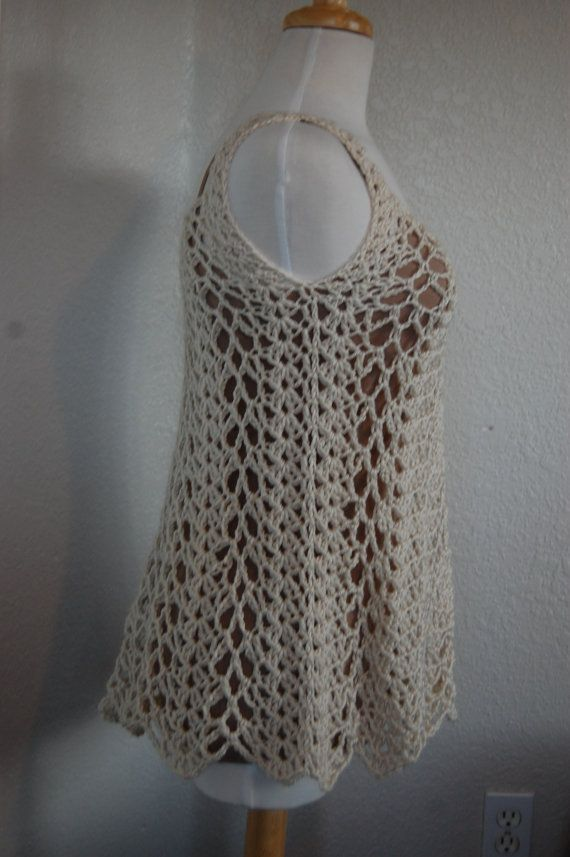 Crochet Tank Top in Cream Size Small | Pinterest | Armario de verano ...